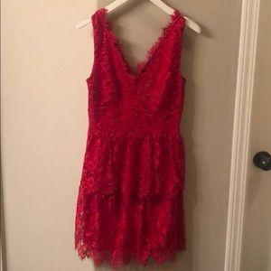 Gianni Bini red lace dress